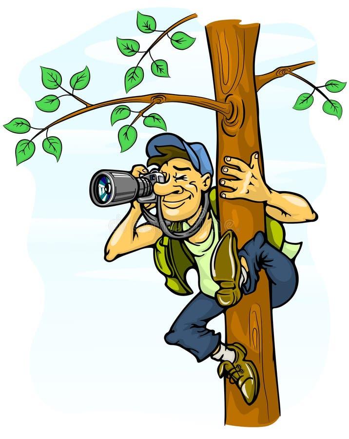 De foto van Paparazzi van een boom stock illustratie