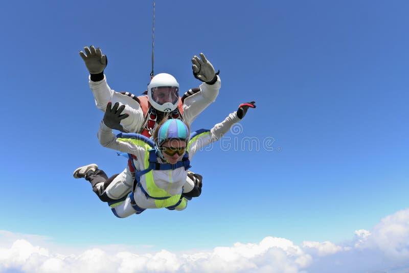 De foto van Skydiving. Achter elkaar. royalty-vrije stock foto
