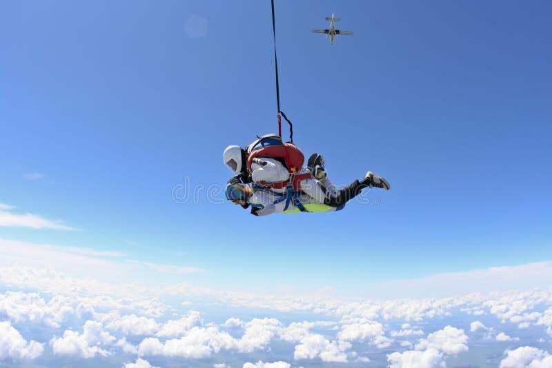 De foto van Skydiving. Achter elkaar. royalty-vrije stock afbeeldingen