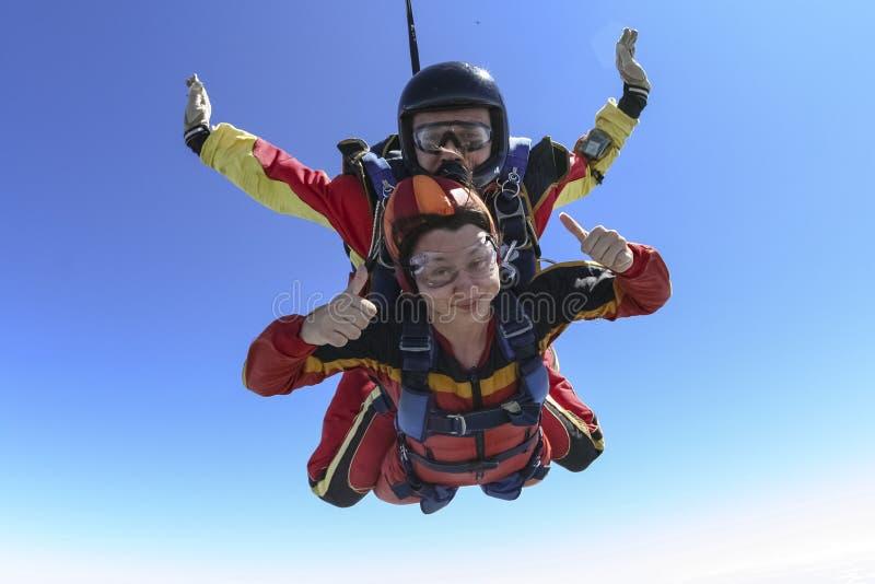 De foto van Skydiving. Achter elkaar. stock afbeelding