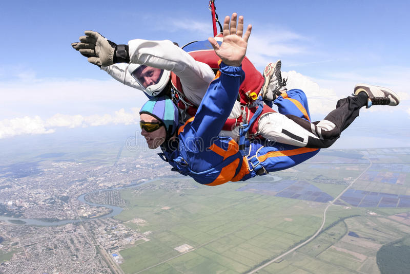 De foto van Skydiving tandem stock afbeelding