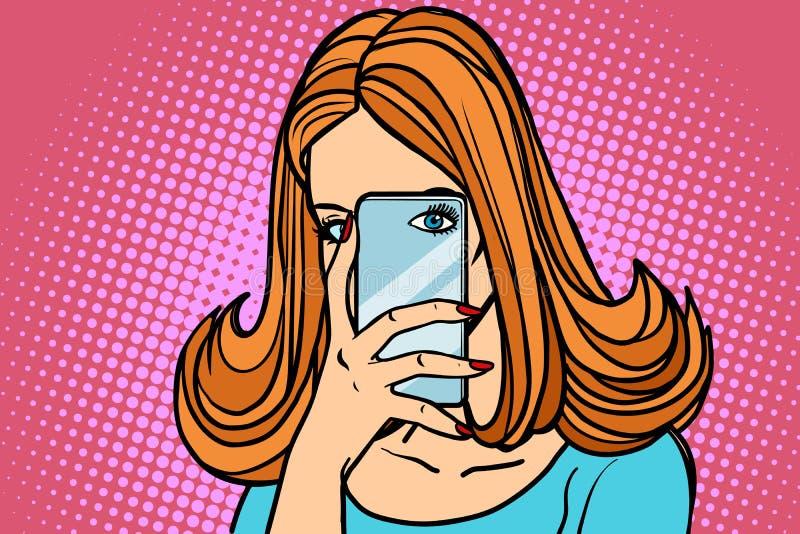 De foto van vrouwensmartphone, oogcamera vector illustratie