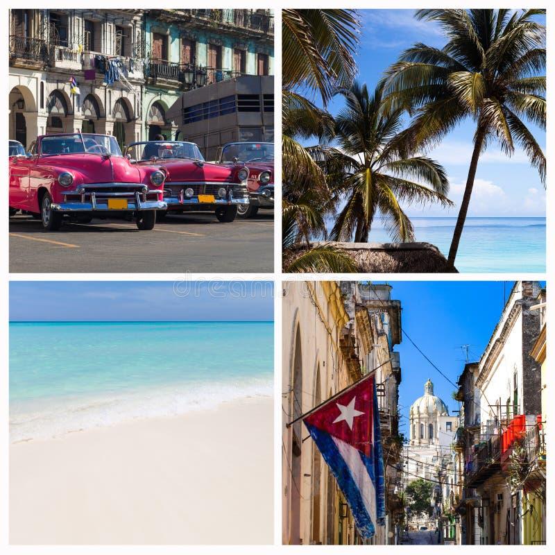 De fotocollage van Cuba met strand en Havana royalty-vrije stock fotografie