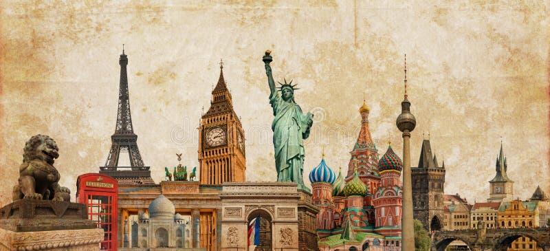 De fotocollage van wereldoriëntatiepunten op uitstekende tessepia geweven achtergrond, reistoerisme en studie rond het wereldconc stock foto