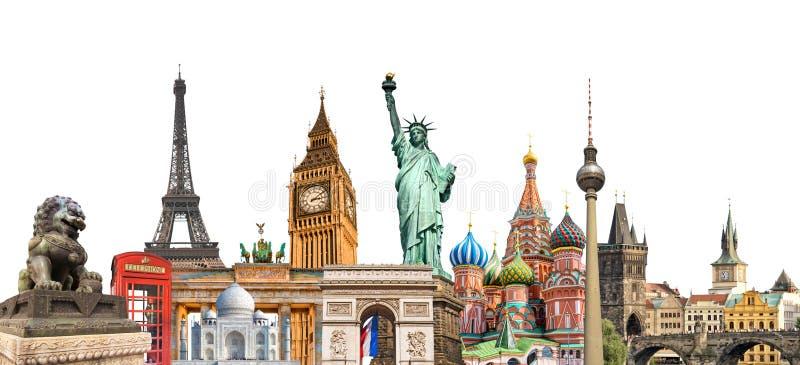 De fotocollage van wereldoriëntatiepunten op witte achtergrond, reistoerisme en studie rond het wereldconcept dat wordt geïsoleer stock foto's