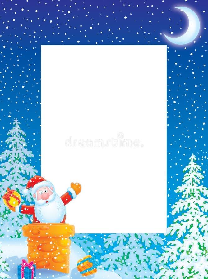 De fotoframe/grens van Kerstmis met de Kerstman stock illustratie