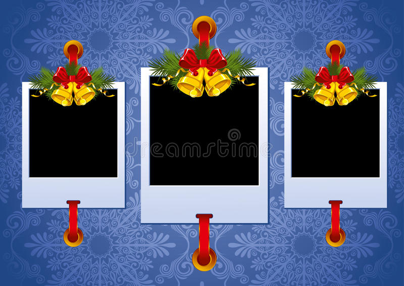 De fotoframe van Kerstmis met klokken royalty-vrije illustratie