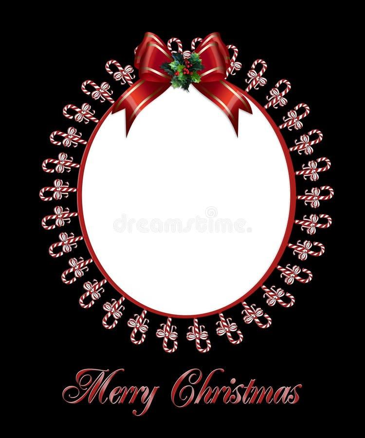 De fotoframe van Kerstmis suikergoedriet royalty-vrije illustratie