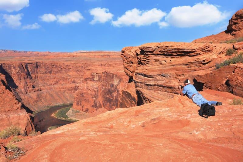 De fotograaf fotografeerde de Rivier van Colorado stock afbeelding