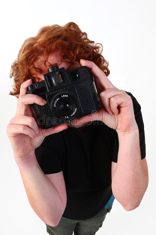 De fotograaf van de roodharige stock afbeelding