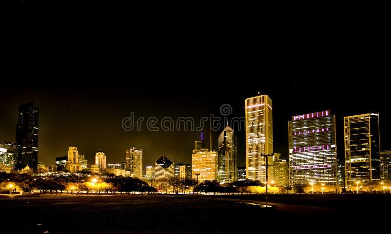 De Fotografie Chicago van de nacht stock fotografie