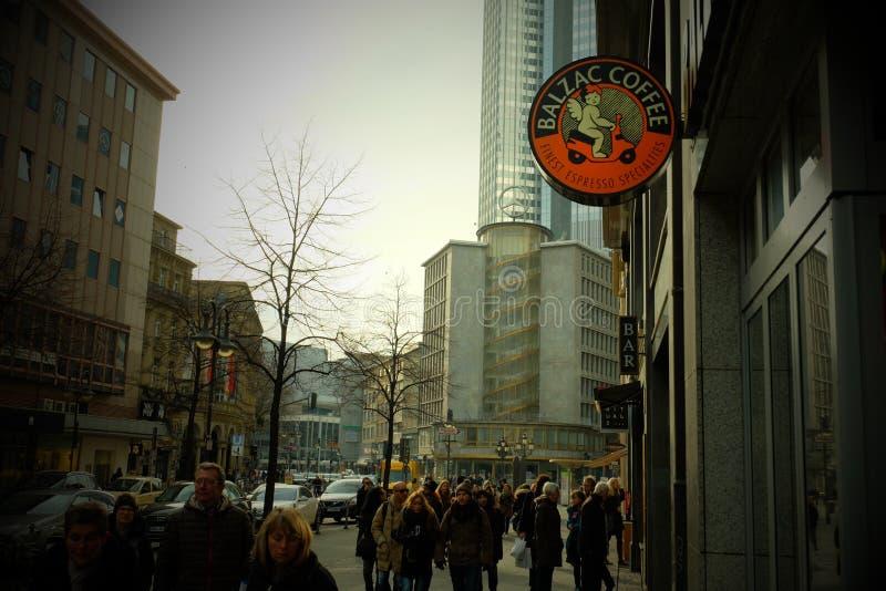 De Fotografie van de de Winkelstraat van de Balzackoffie in Frankfurt royalty-vrije stock afbeeldingen