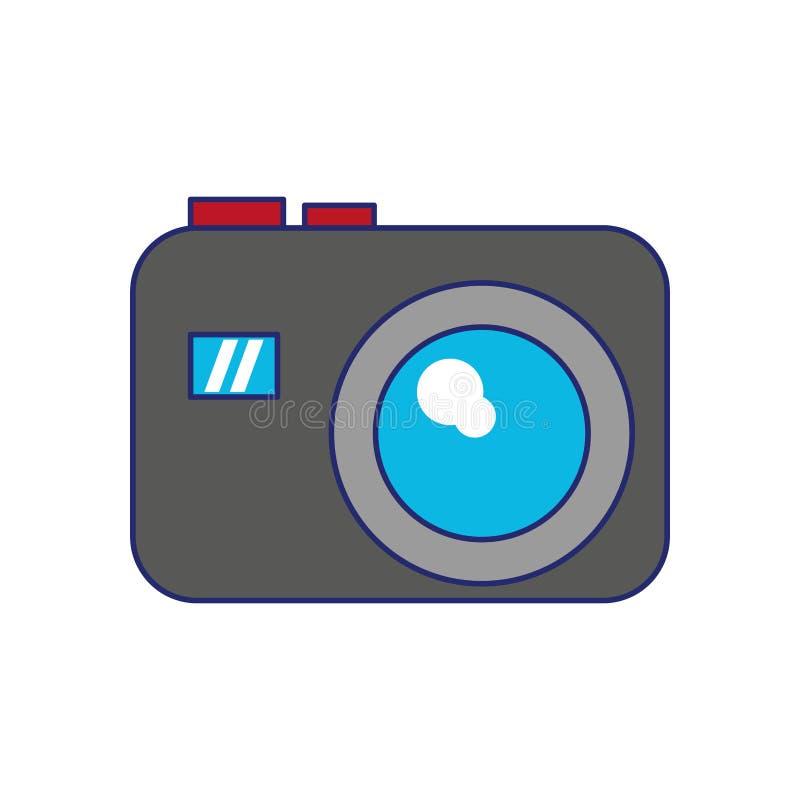 De fotografische blauwe lijnen van het camerapictogram royalty-vrije illustratie