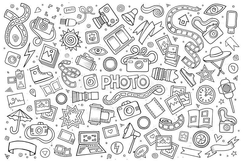 De fotokrabbels overhandigen getrokken schetsmatige vectorsymbolen stock illustratie