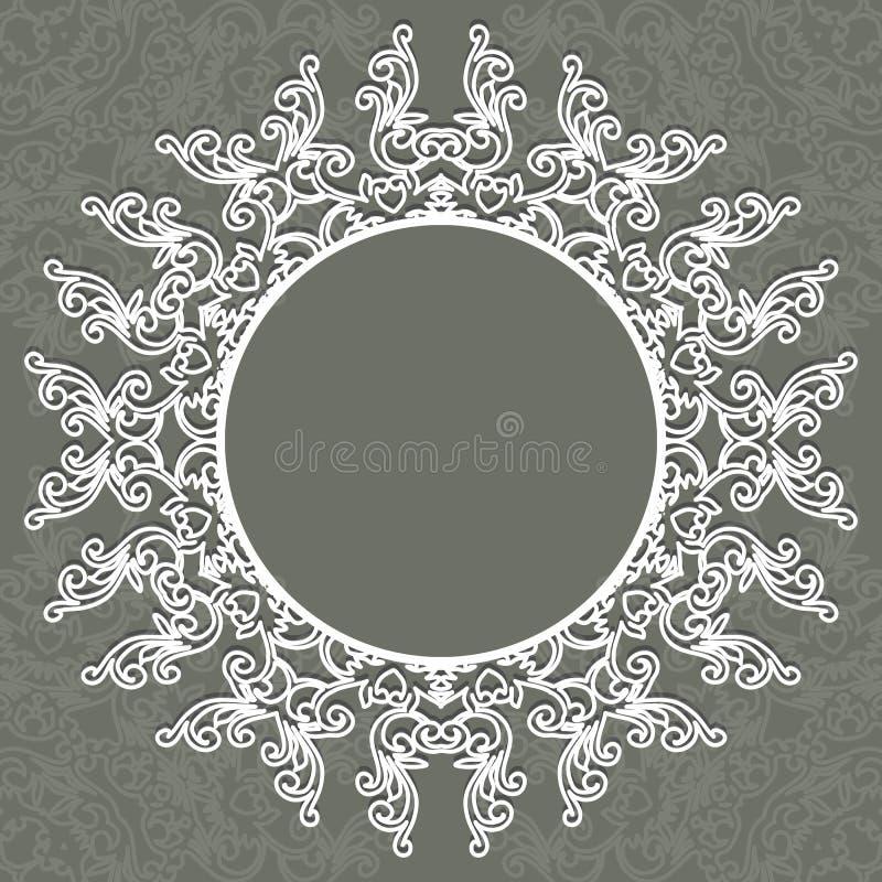 De de fotoomlijsting of ronde, ging met ornament, kruger grens, royalty-vrije illustratie