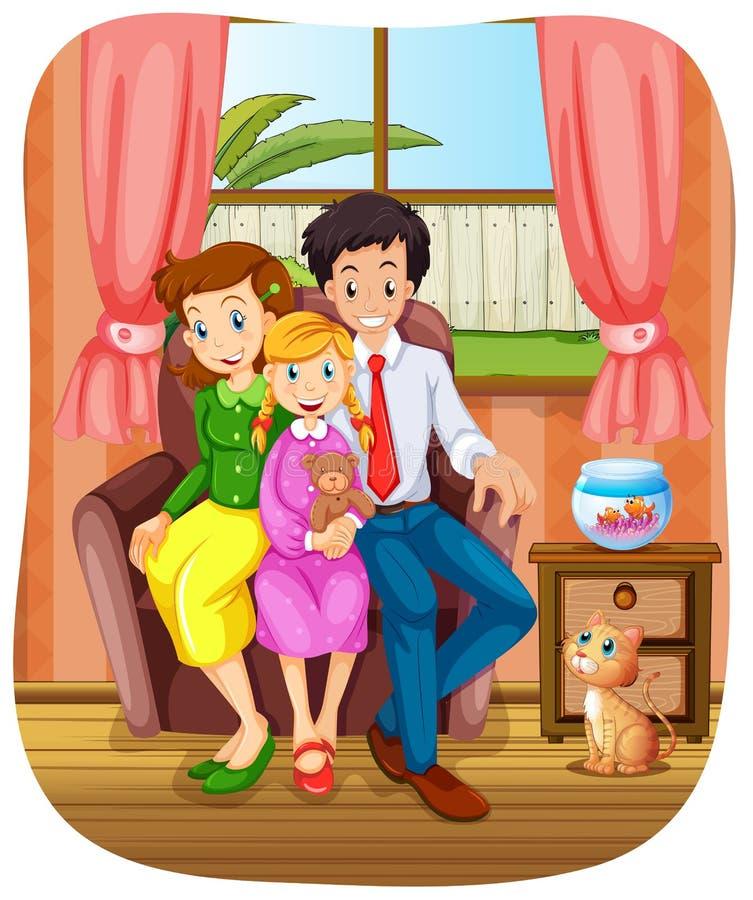 De fotozitting van de familiegroep op bank stock illustratie