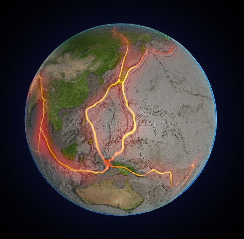 De foutenlijnen van de aarde tussen tectonische platen royalty-vrije illustratie