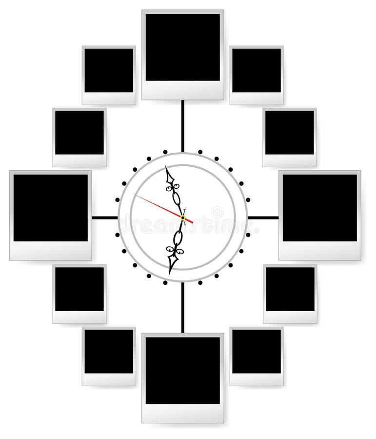 De frames van de foto in klok stock illustratie