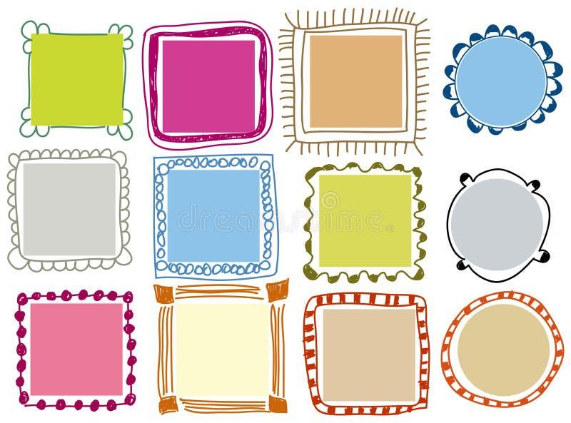 De frames van de krabbel stock illustratie