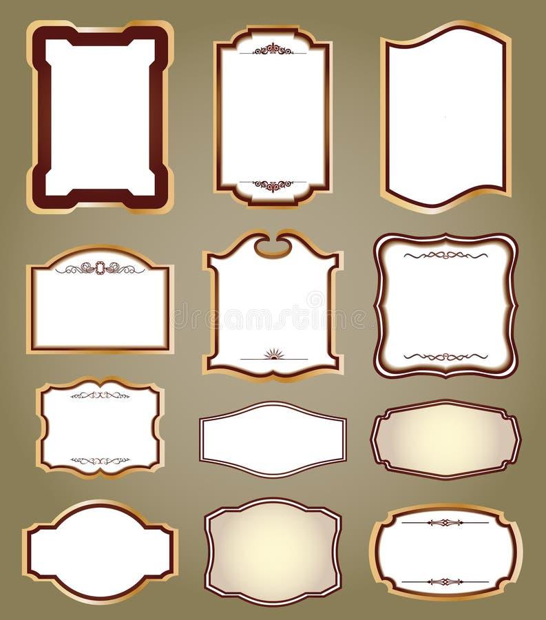 De frames van etiketten en kalligrafische elementen. Vector stock illustratie