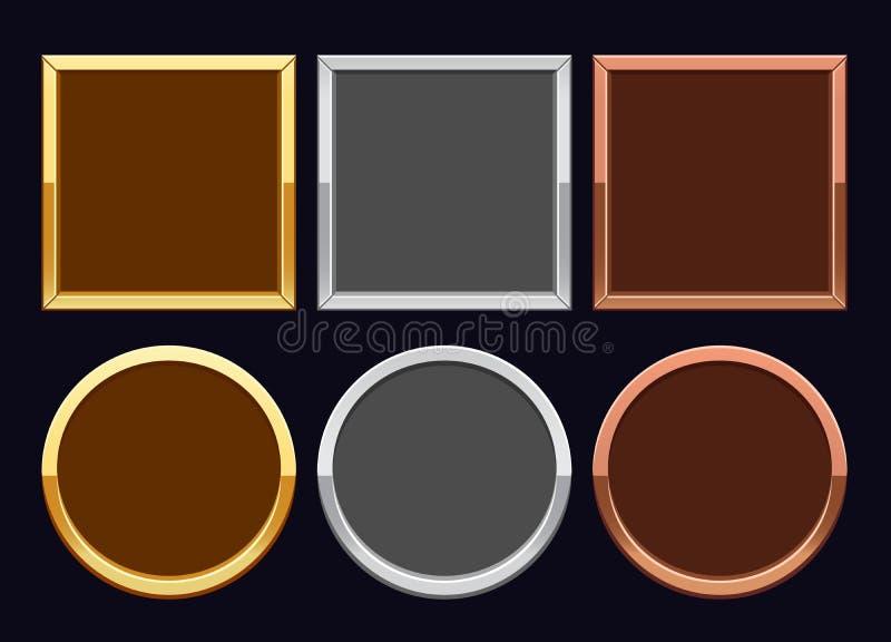 De frames van het goud, van het zilver en van het brons stock illustratie