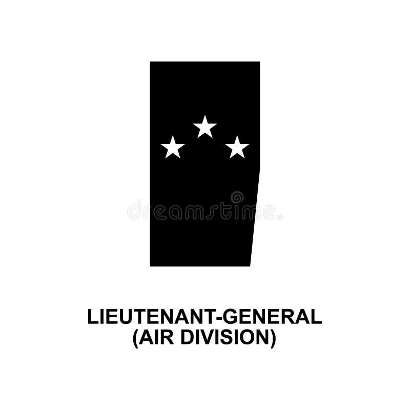 De Frans van de de luchtafdeling van het luitenantalgemeen militair rangen en insignes glyph pictogram vector illustratie
