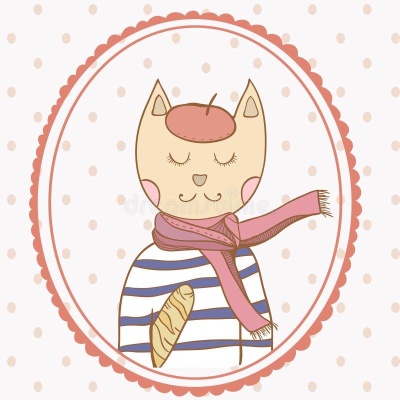 De Franse Parijse polka van de kattenhand getrokken illustratie stock illustratie