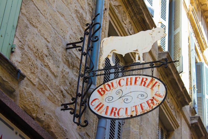 De Franse slagers ondertekenen stock foto's