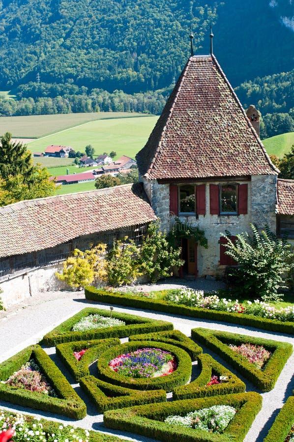 De Franse Tuin bij Gruyère stock afbeeldingen