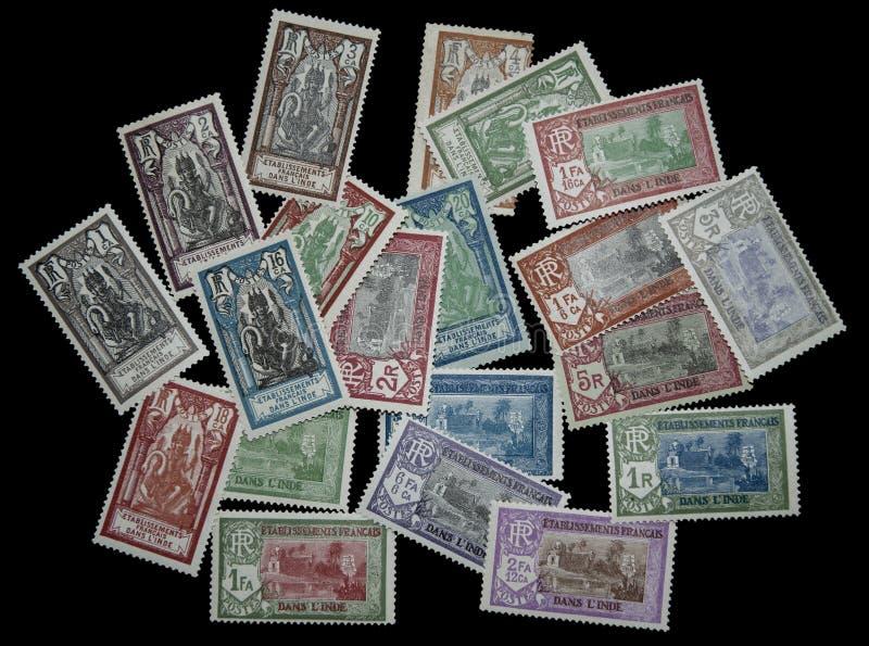 1929 de Franse zegels van India royalty-vrije stock afbeeldingen