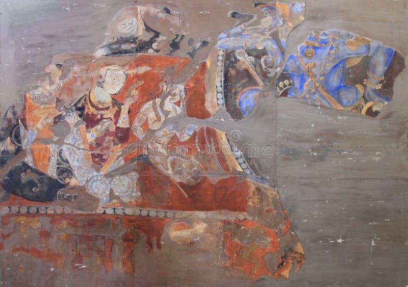 De fresko's op de muur van het paleis van Oude Penjikent, Tadzjikistan stock foto