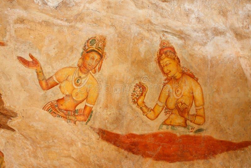 De fresko's van Sigiriya royalty-vrije stock afbeelding