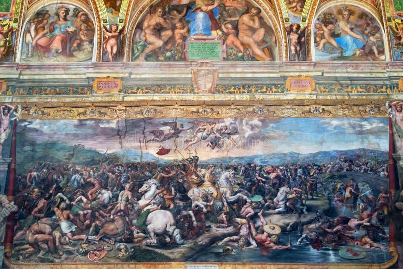 De fresko van de 16de eeuw in het Museum van Vatikaan stock foto