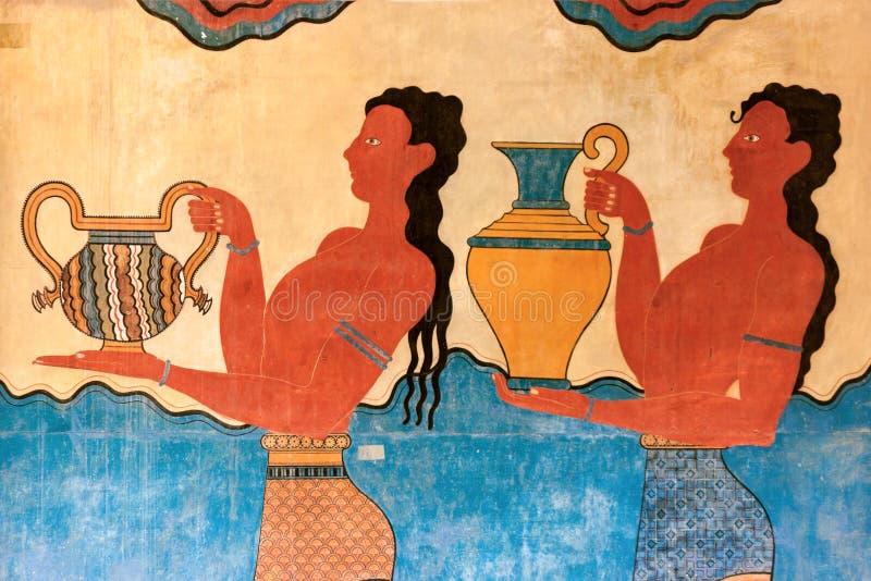 De Fresko van de kopdrager van Knossos stock afbeeldingen