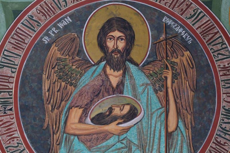 De fresko van heilige John, Radu Voda-klooster, Boekarest royalty-vrije stock foto