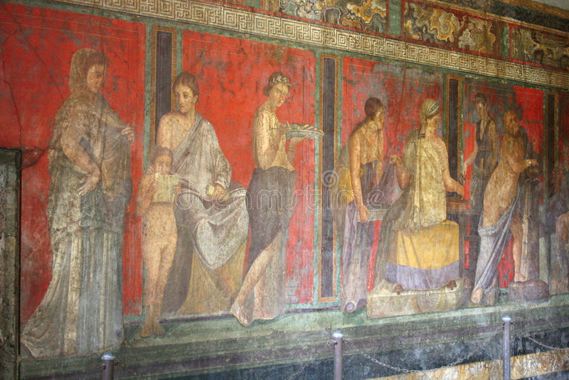 De fresko van Pompei, Napels (Italië) stock afbeeldingen
