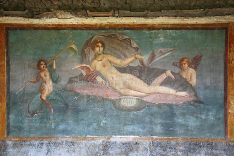 De fresko van Pompei, Napels (Italië) royalty-vrije stock foto