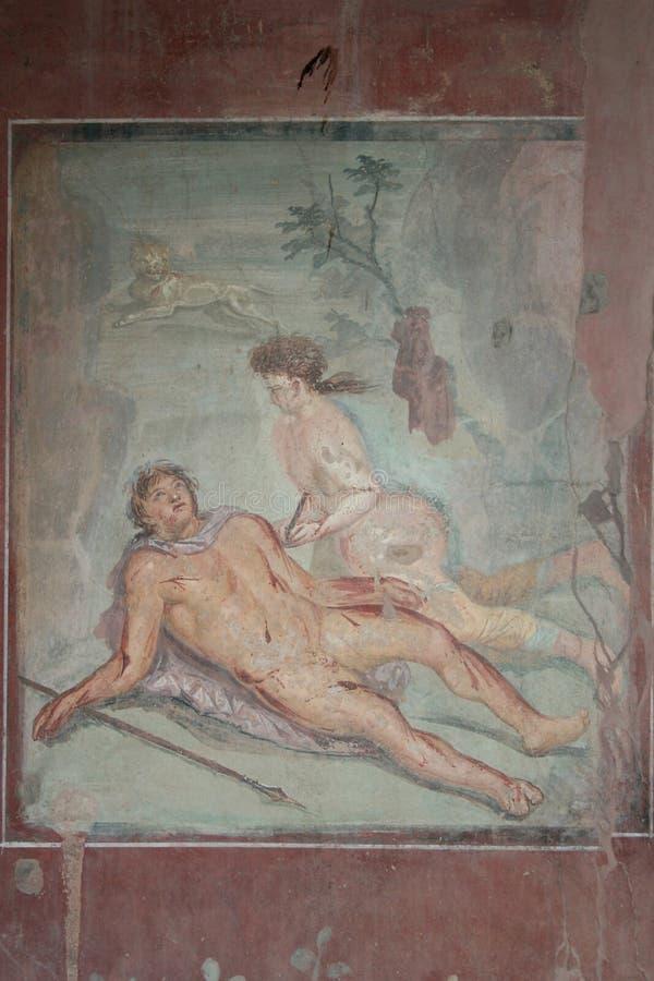 De fresko van Pompei, Napels (Italië) stock foto