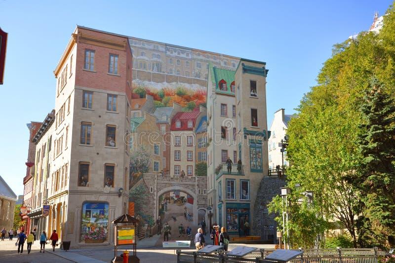 De Fresko van de Stad van Quebec stock foto's