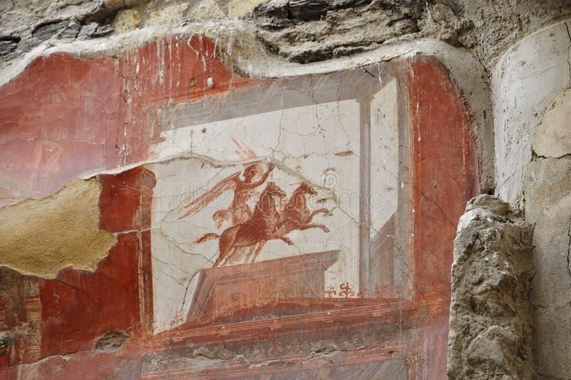 De fresko van Victoria en twee-Horsed Blokkenwagen, Herculaneum royalty-vrije stock afbeeldingen