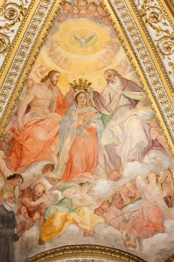 De fresko in zijapsis van kerk Chiesa San Marcello al Corso royalty-vrije stock foto's
