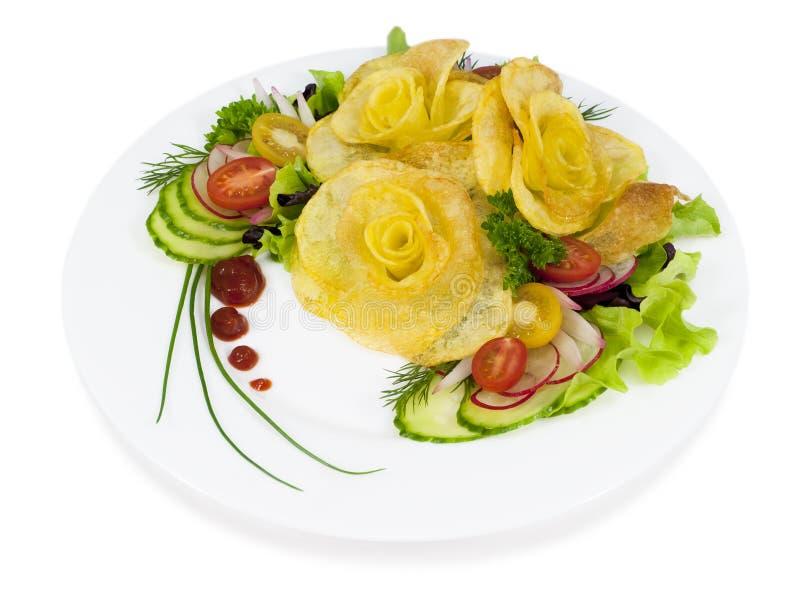 Download De Frieten In De Vorm Van Namen Op Een Plaat Met Een Salade Op Wh Toe Stock Afbeelding - Afbeelding bestaande uit cultuur, art: 29508661
