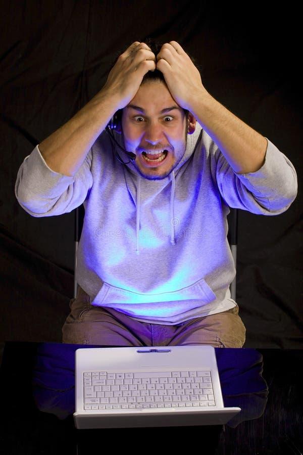 De frustratie van de computer stock foto