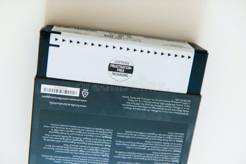 De frustratie-Vrije verpakking van Amazonië van nieuw Amazonië Kindle royalty-vrije stock foto's