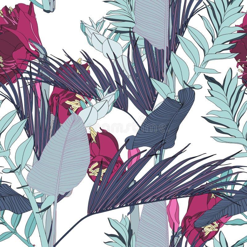 De fuchsiakleurig bloemen van de lijnlelie met exotische blauwe bladeren, lichte achtergrond Bloemen naadloos patroon royalty-vrije illustratie
