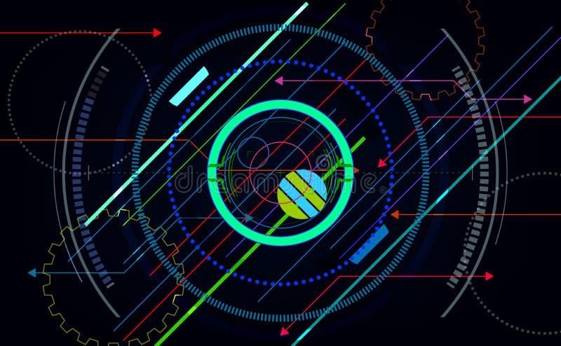 De futuristische abstracte achtergronden van technologie, kleurrijke cirkel Vector illustratie EPS10 stock illustratie