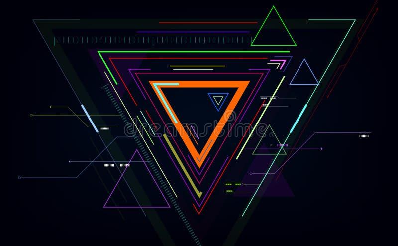 De futuristische abstracte achtergronden van technologie, kleurrijke driehoek Vector illustratie EPS10 stock illustratie