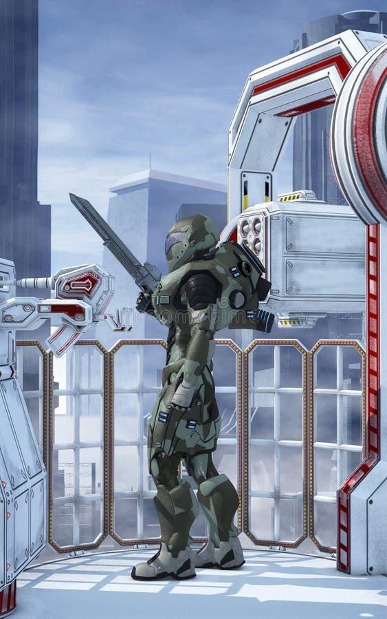De futuristische beschermer van de militairstad royalty-vrije illustratie