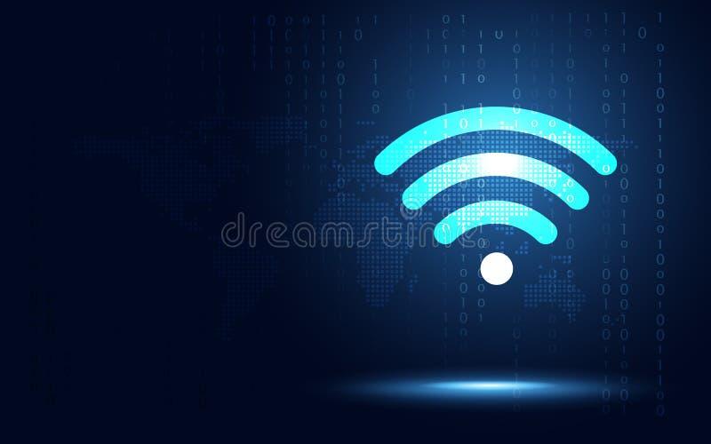 De futuristische blauwe draadloze achtergrond van de verbindings abstracte technologie Kunstmatige intelligentie digitale transfo royalty-vrije illustratie