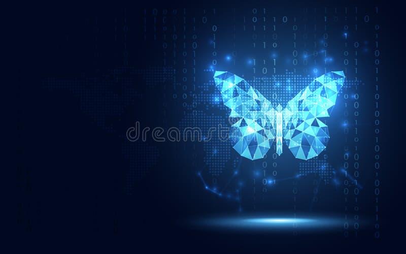 De futuristische blauwe lowpoly achtergrond van de Vlinder abstracte technologie Kunstmatige intelligentie digitale transformatie stock illustratie